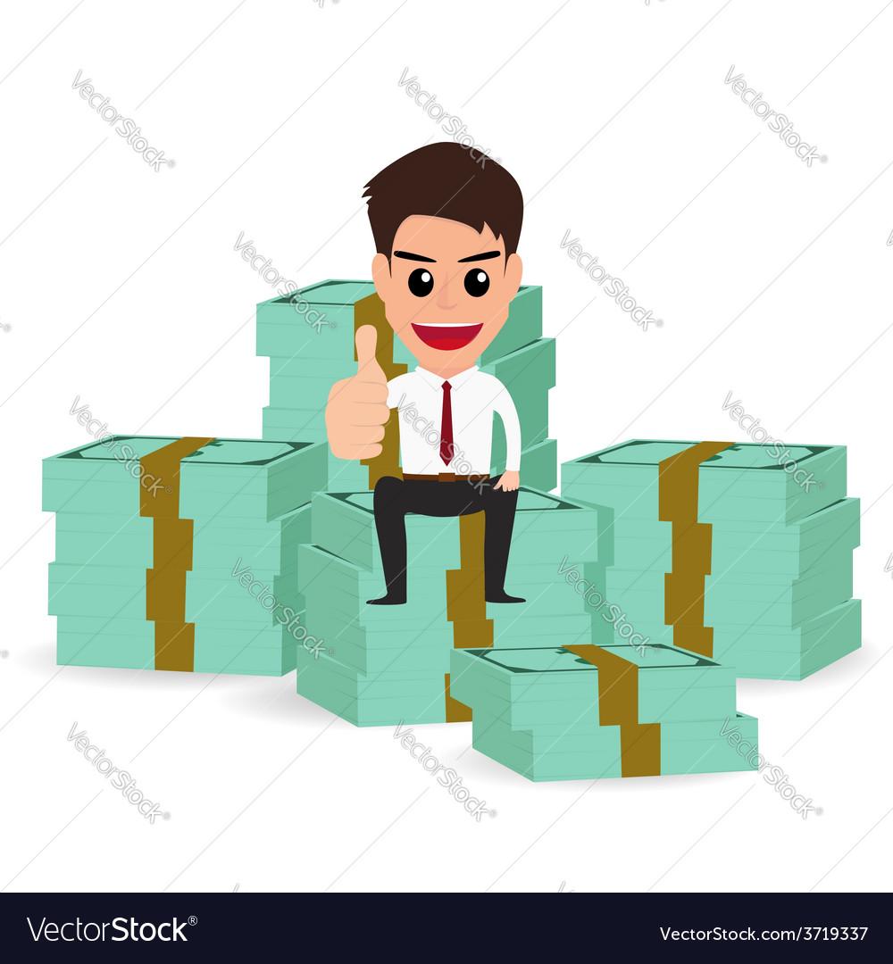 Businessman sitting on money stacks vector