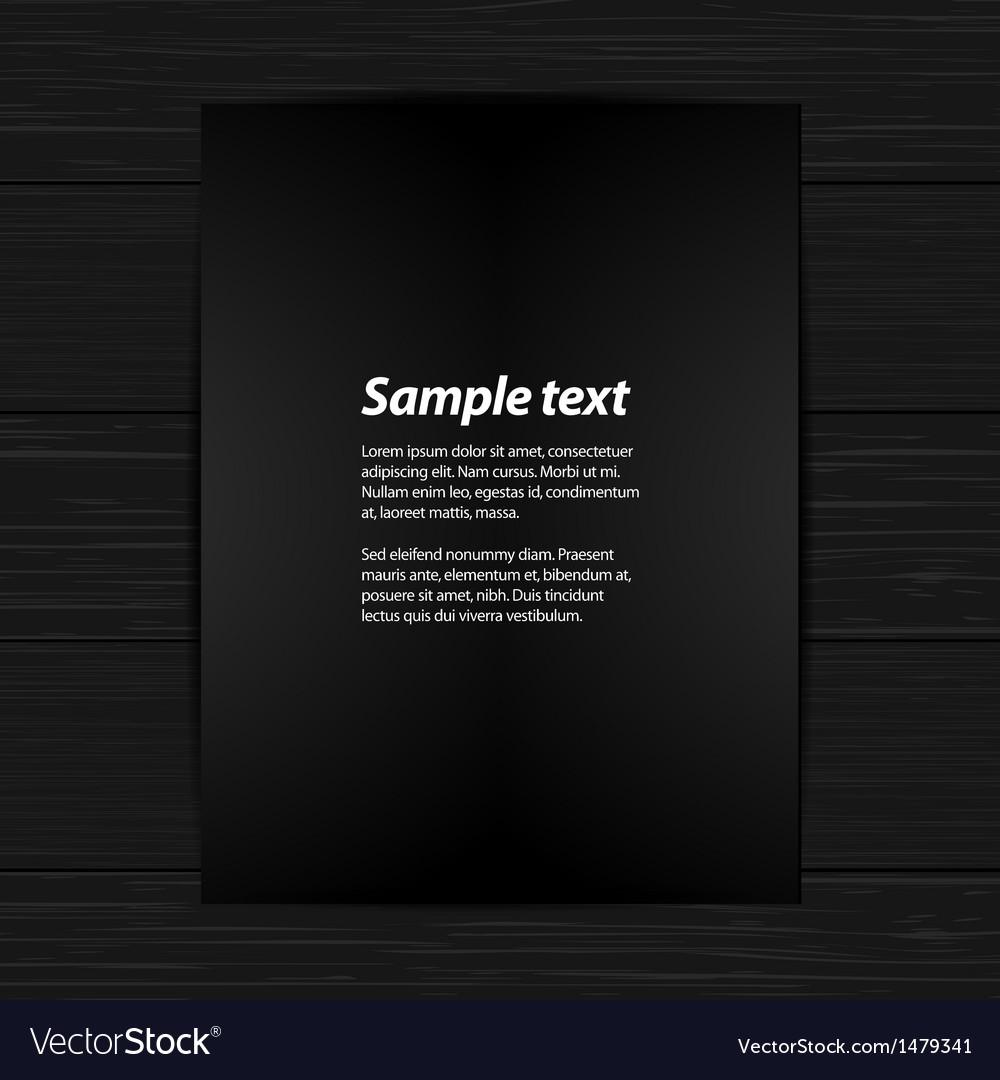 Black panel on black wood wih sample text vector