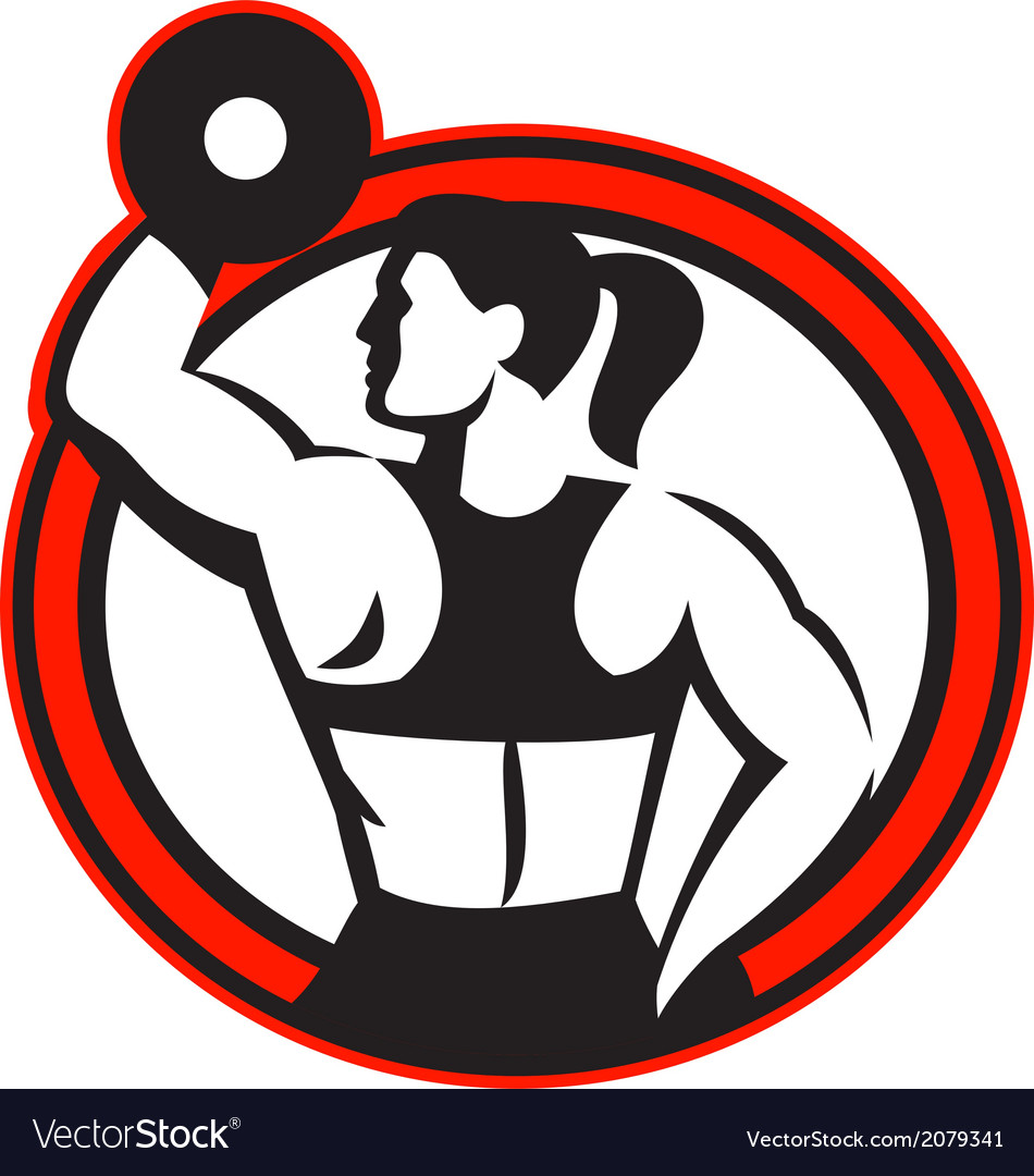 Female lifting dumbbell fitness side circle vector