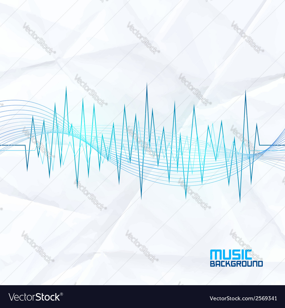 Sound wave on paper background abstract equalizer vector