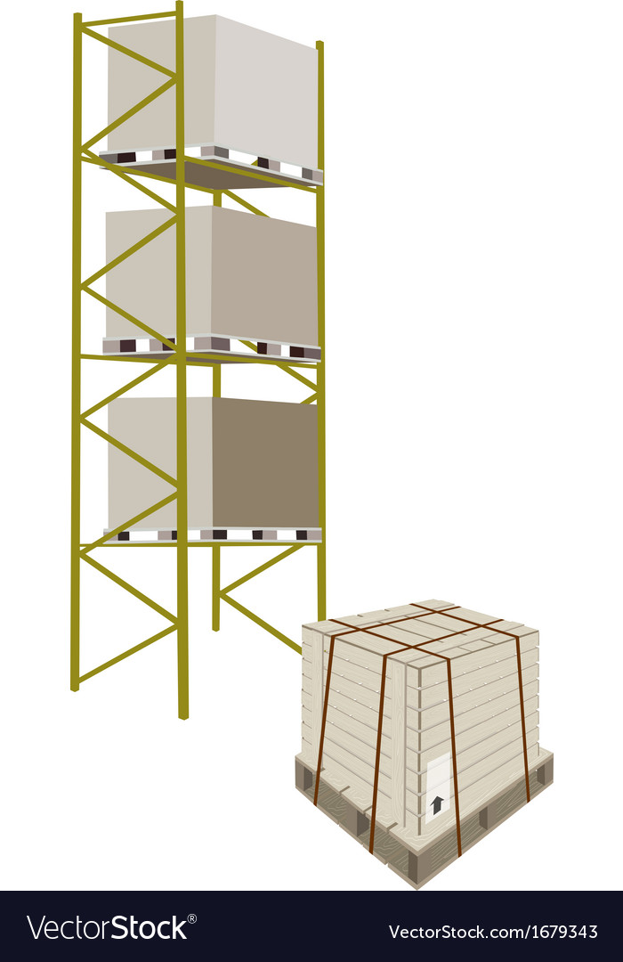 Cargo shelf with shipping box in steel strapping vector