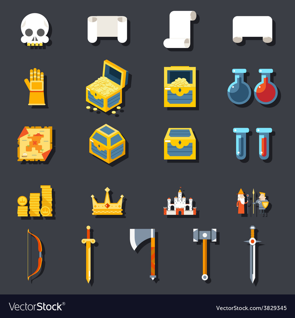 Rpg game accessories icons set scrolls treasure vector