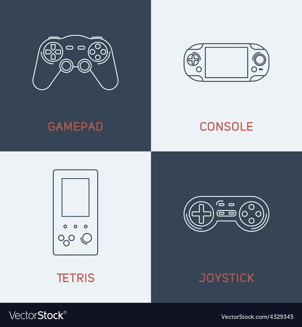 Set of modern thin line icons gamepad console vector