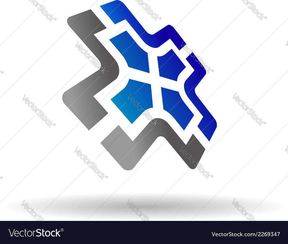 Grey and blue colored icon for web design vector