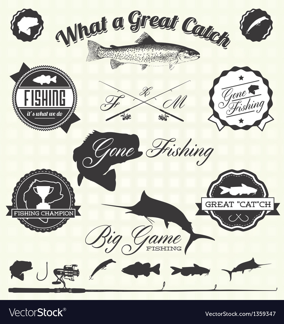 Retro gone fishing labels and icons vector