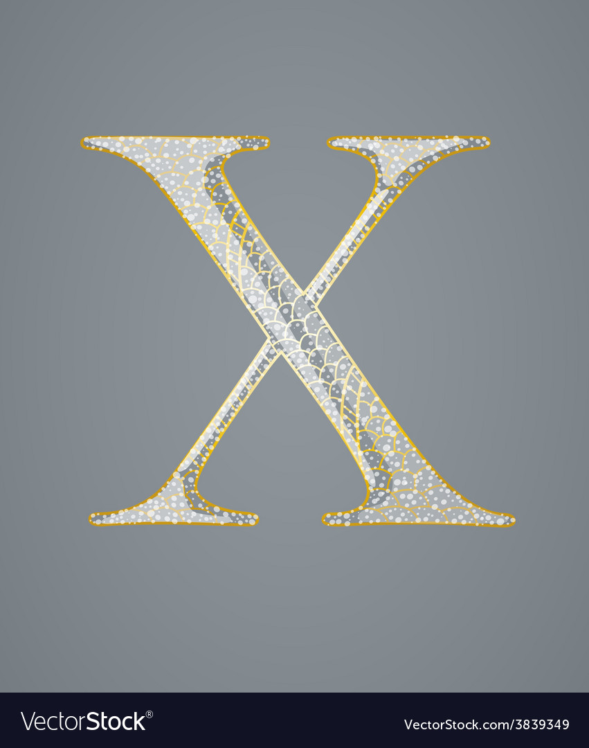 Abstract golden letter x vector