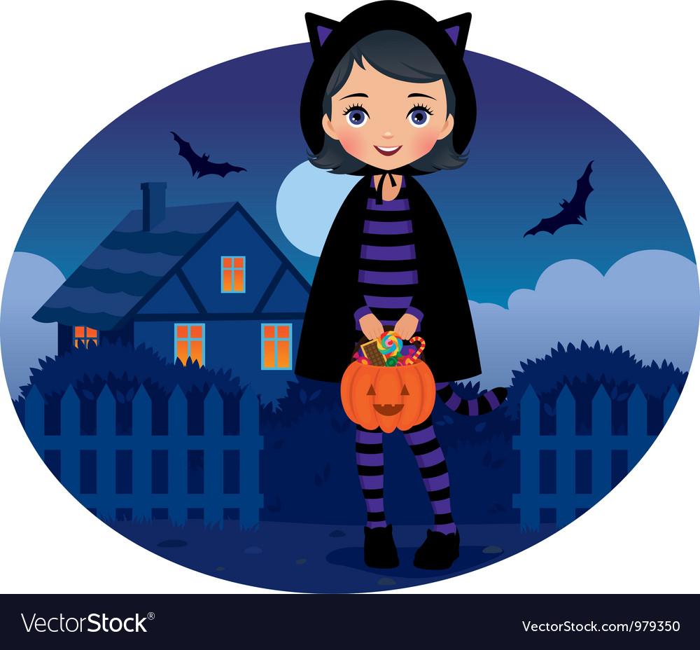Little girl in cat costume halloween vector