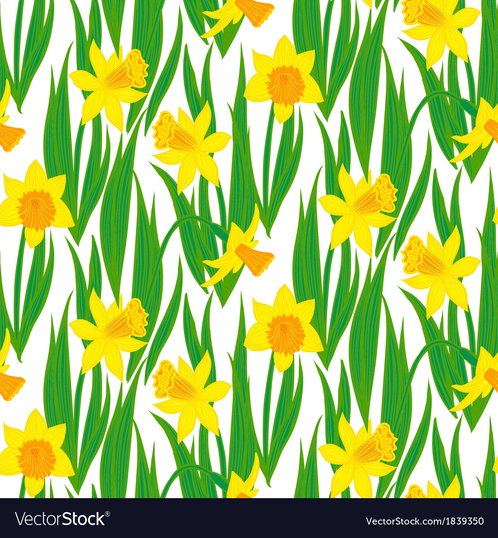 Vintage floral pattern with daffodils vector