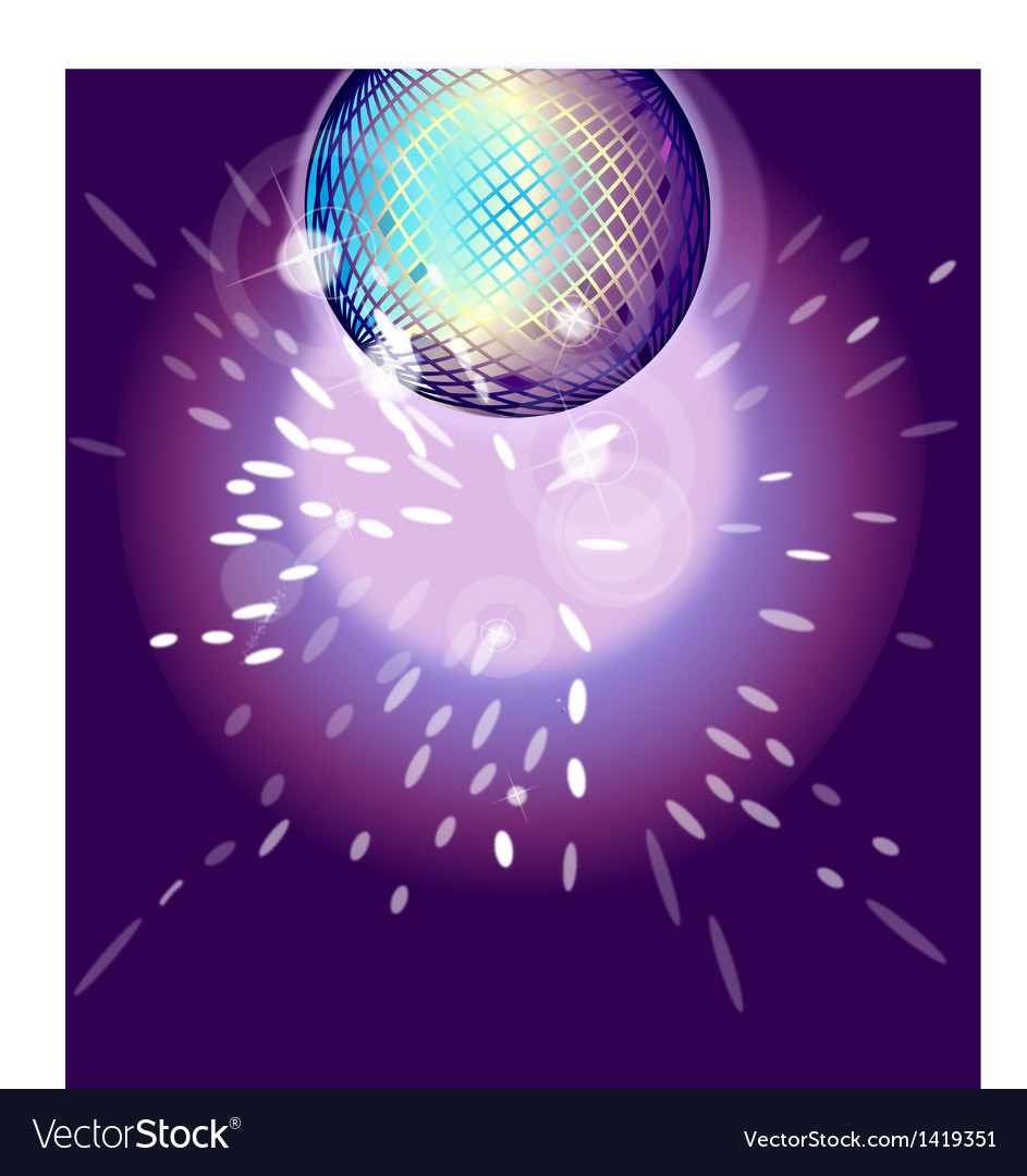 Shiny disco ball on nightclub vector