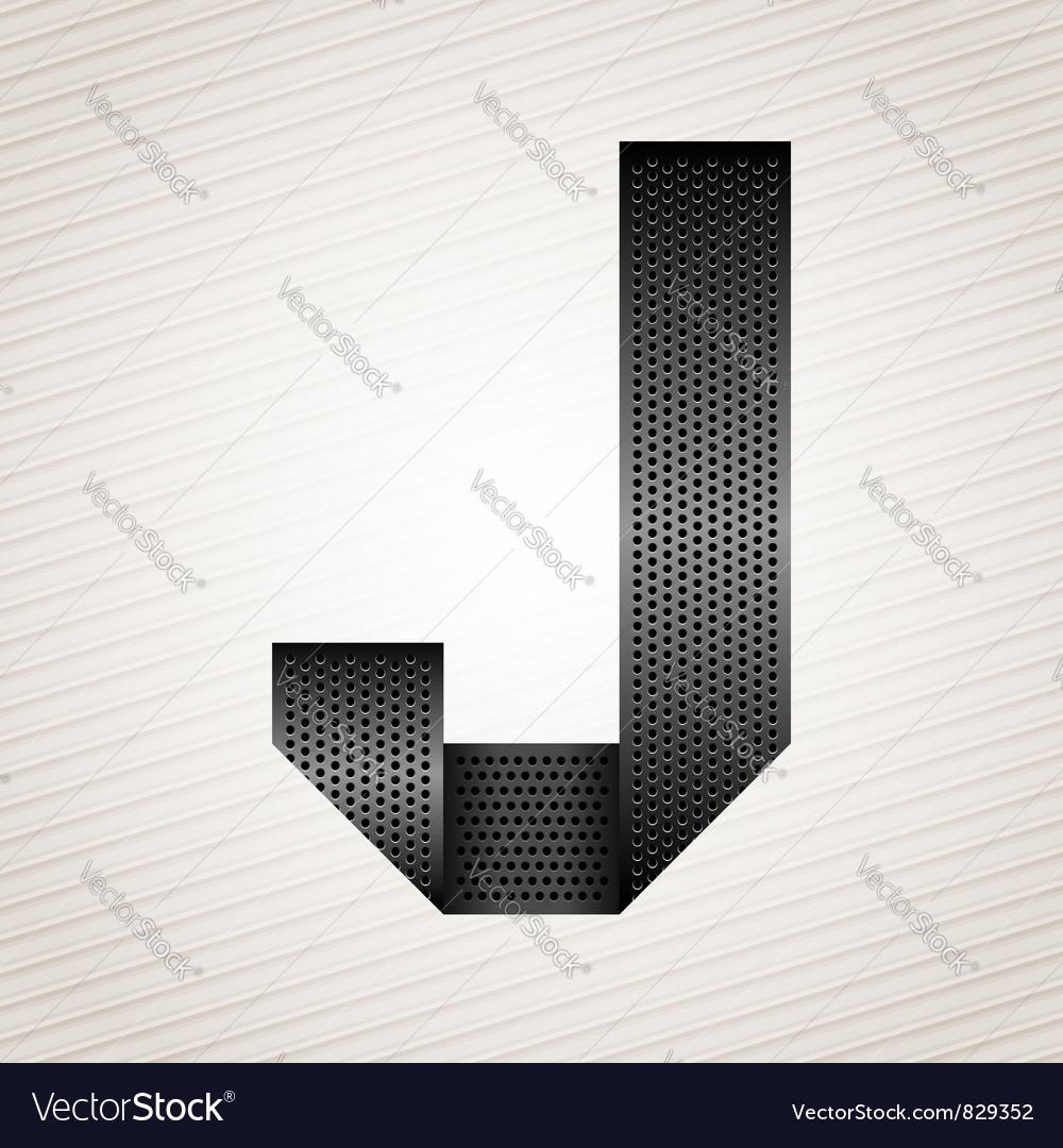Letter metal ribbon - j vector
