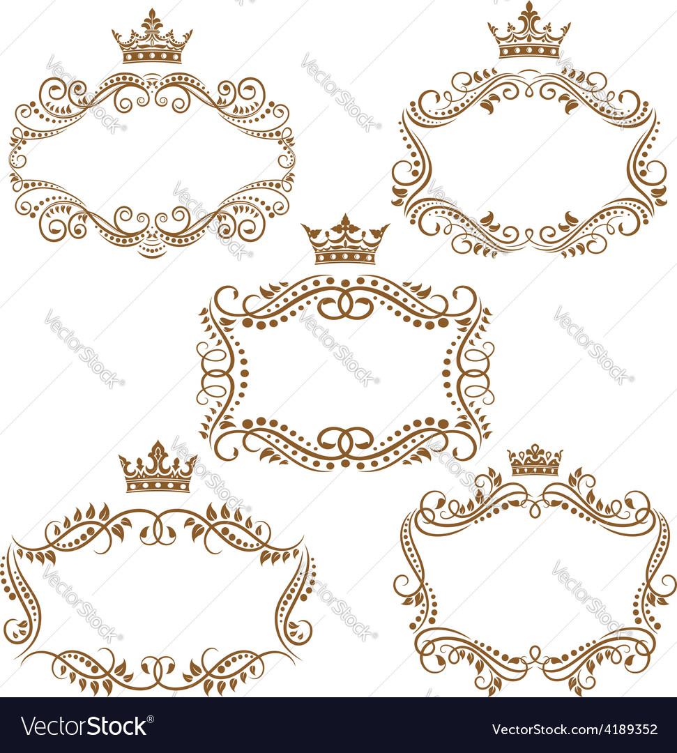 Royal vintage brown borders and frames vector