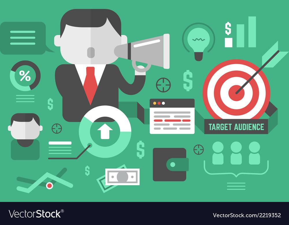 Target audience digital marketing and advertising vector