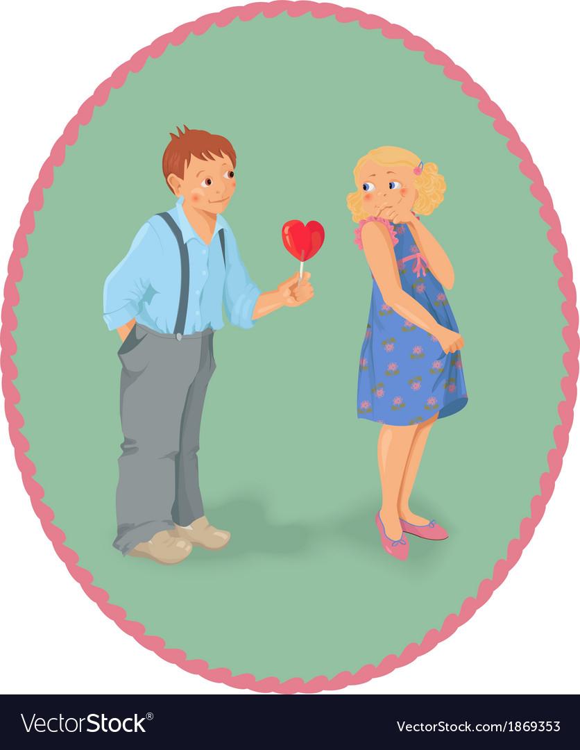 Boy girl and a lollipop look like heart shape vector
