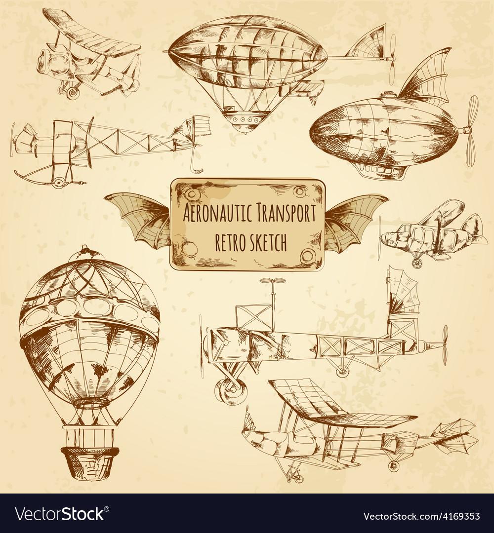 Retro aviation sketch vector