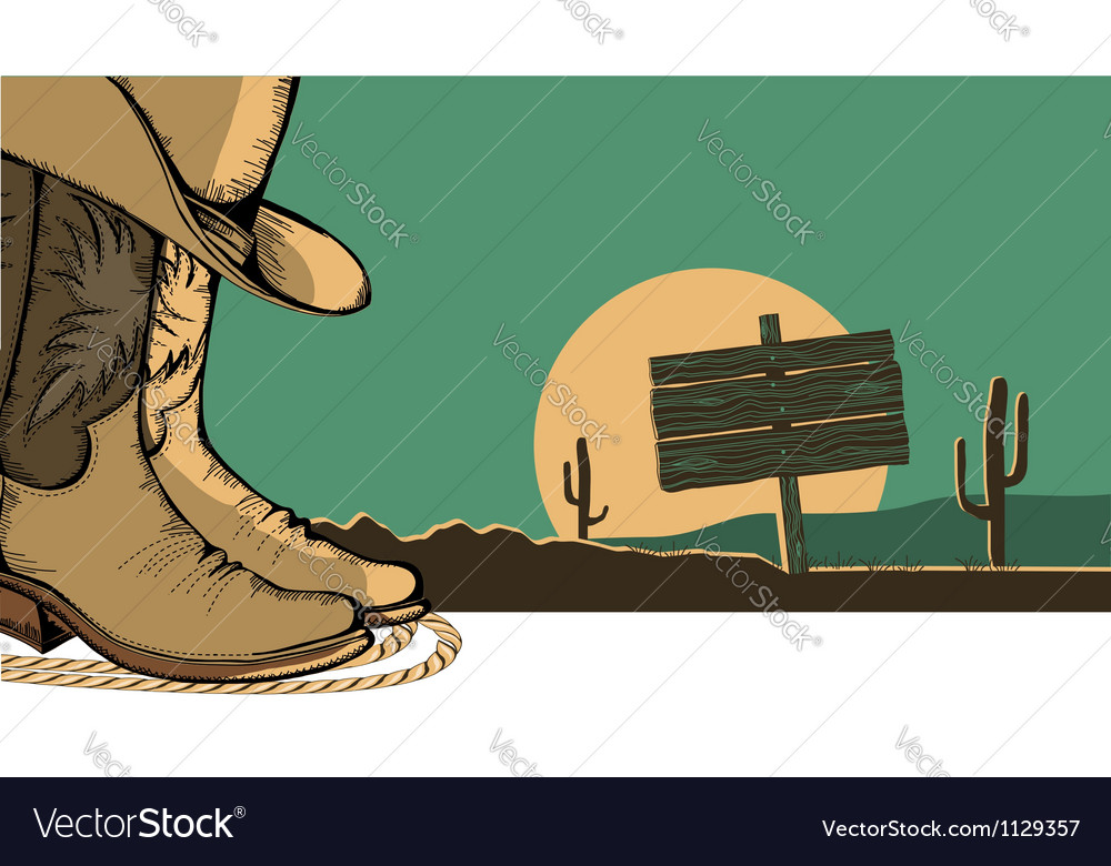 Western with cowboy shoes and desert landscape vector
