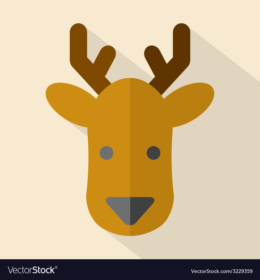 Modern flat design deer icon vector