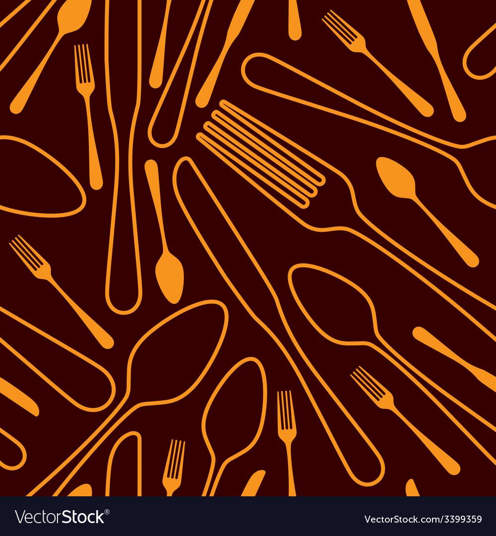 Seamless silverware background vector