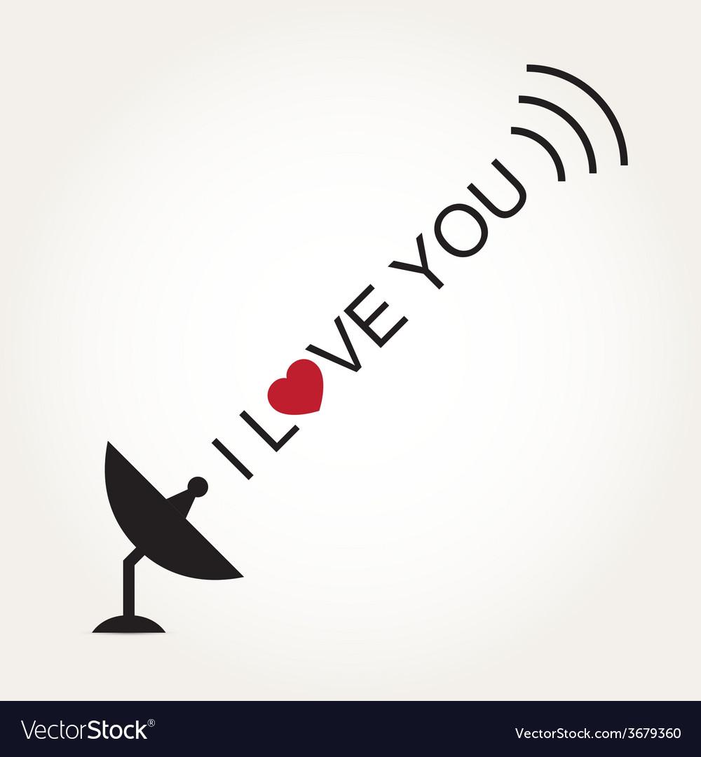 Love heart satellite dish vector