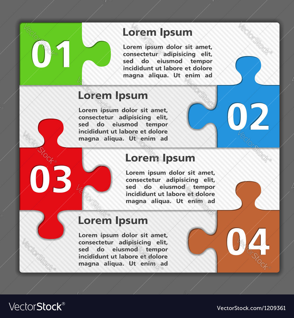 Design template with puzzle pieces vector