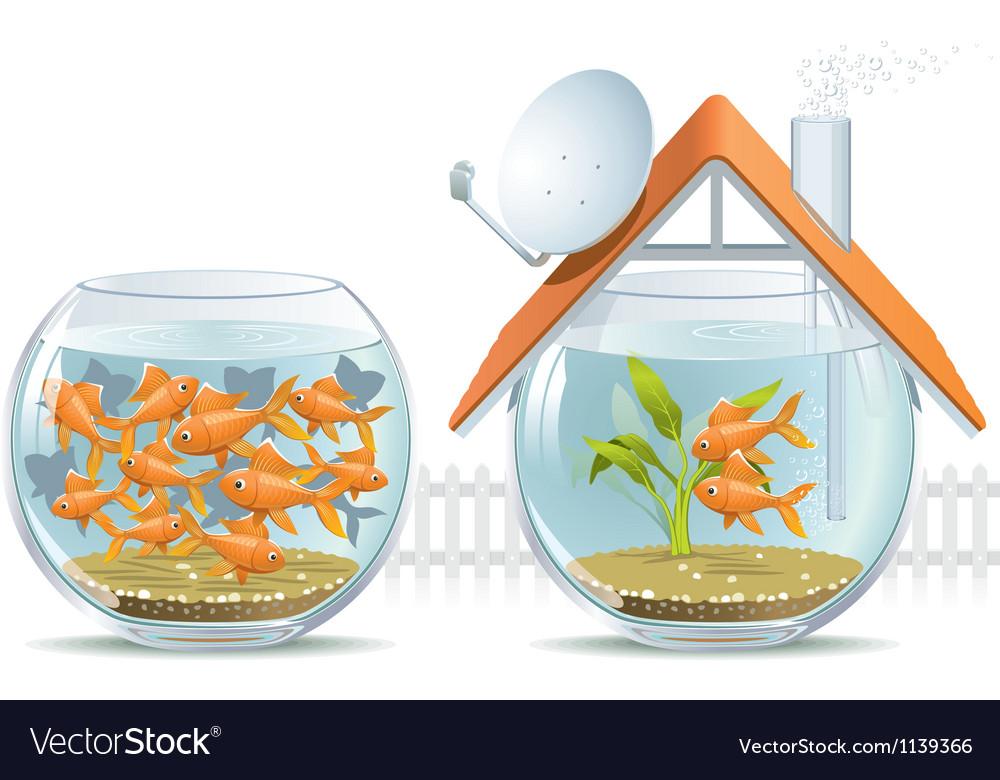Aquarium home and social housing vector