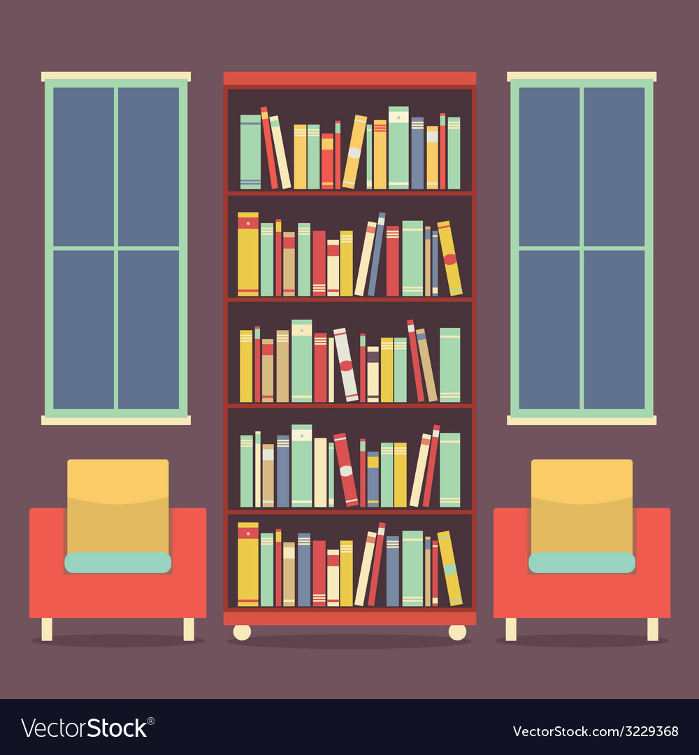 Flat design reading seats and bookcase vector