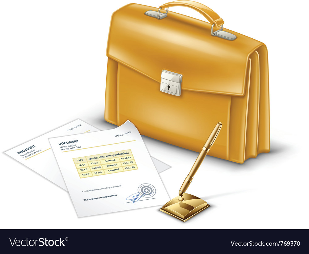Business briefcase with documents and pen vector