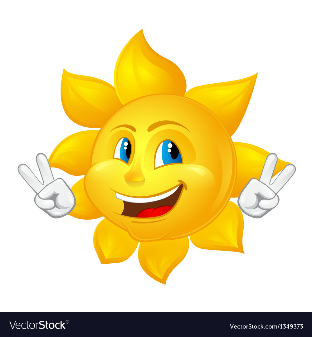 Blue eyed smiling sun vector