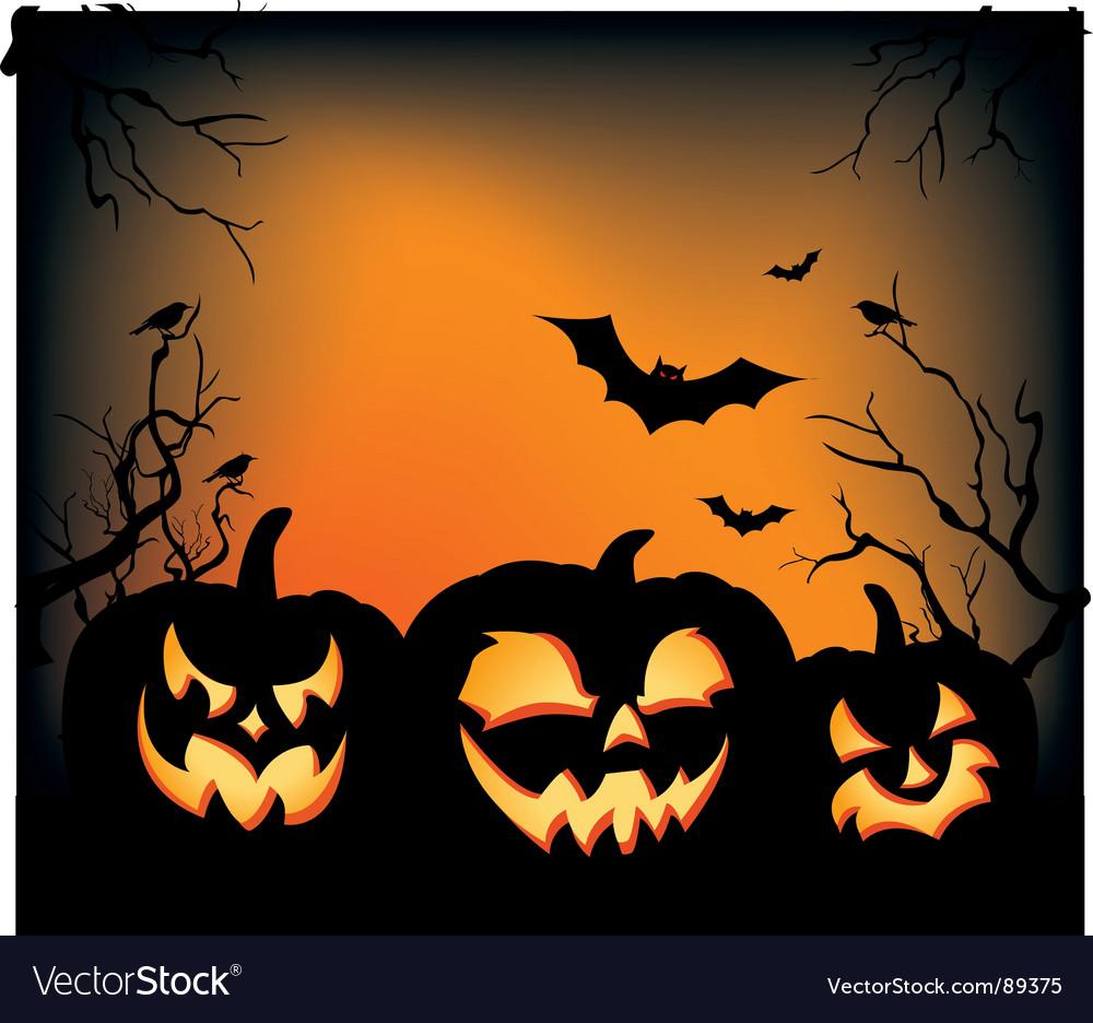 Halloween carved pumpkins vector