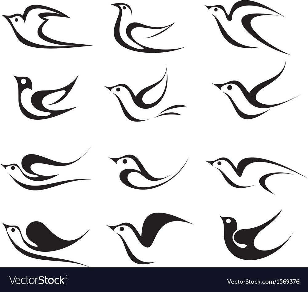 Bird icon on white vector