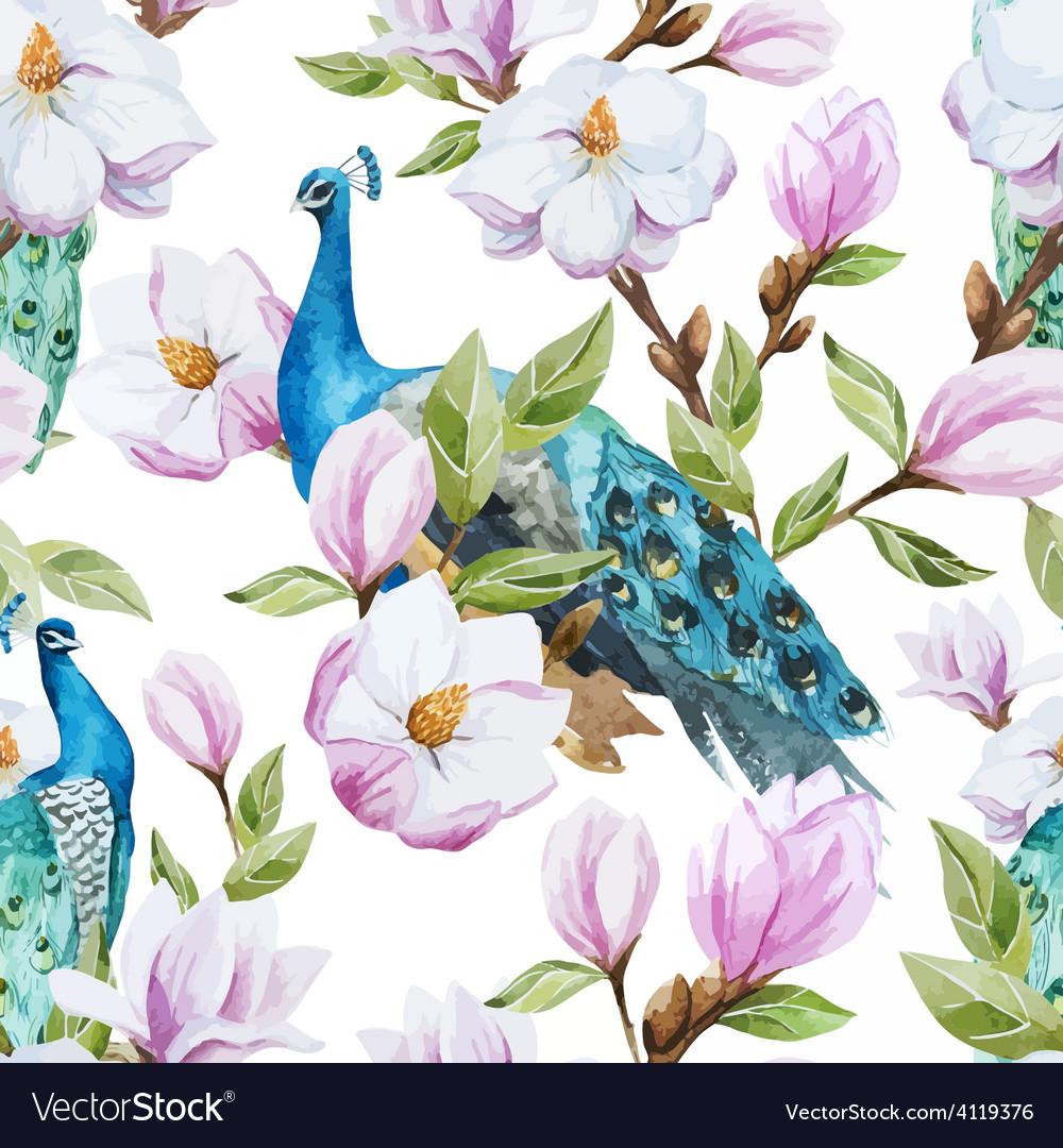 Magnolia and peacock vector