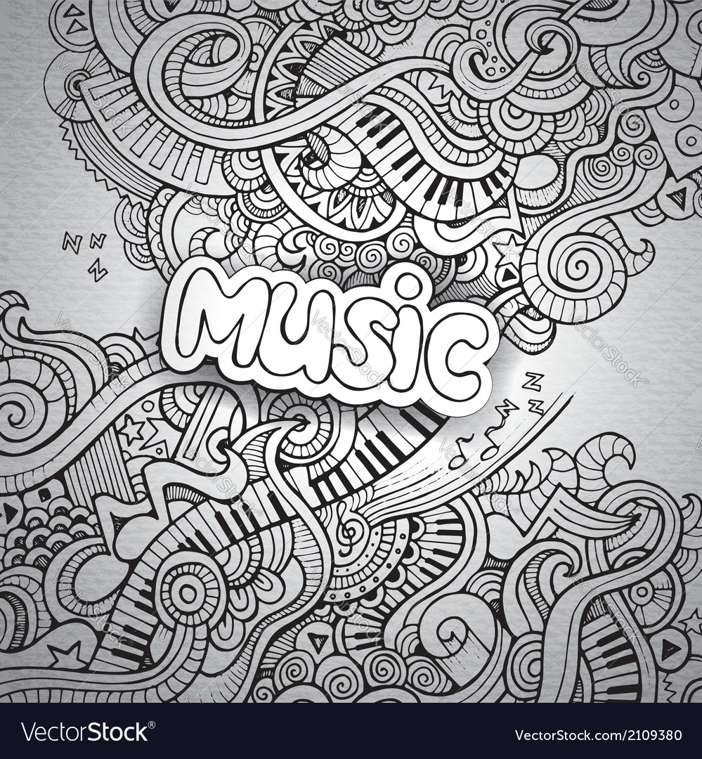 Music sketchy notebook doodles vector