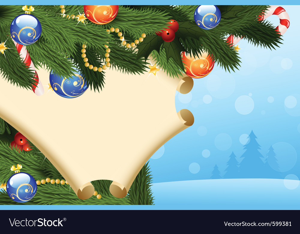 Firtree scroll and decoration vector