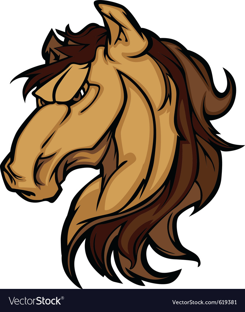 Mustang stallion mascot cartoon image vector