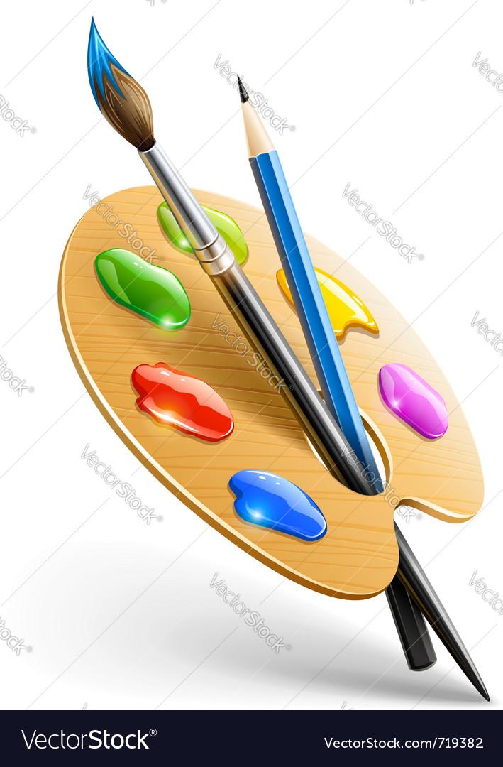 Art palette with paint brush vector