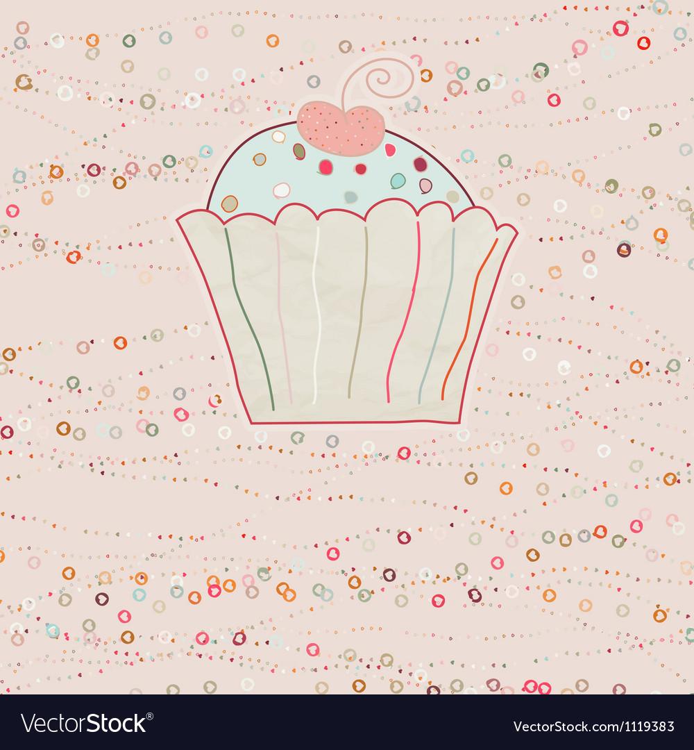 Cupcake valentine card eps 8 vector