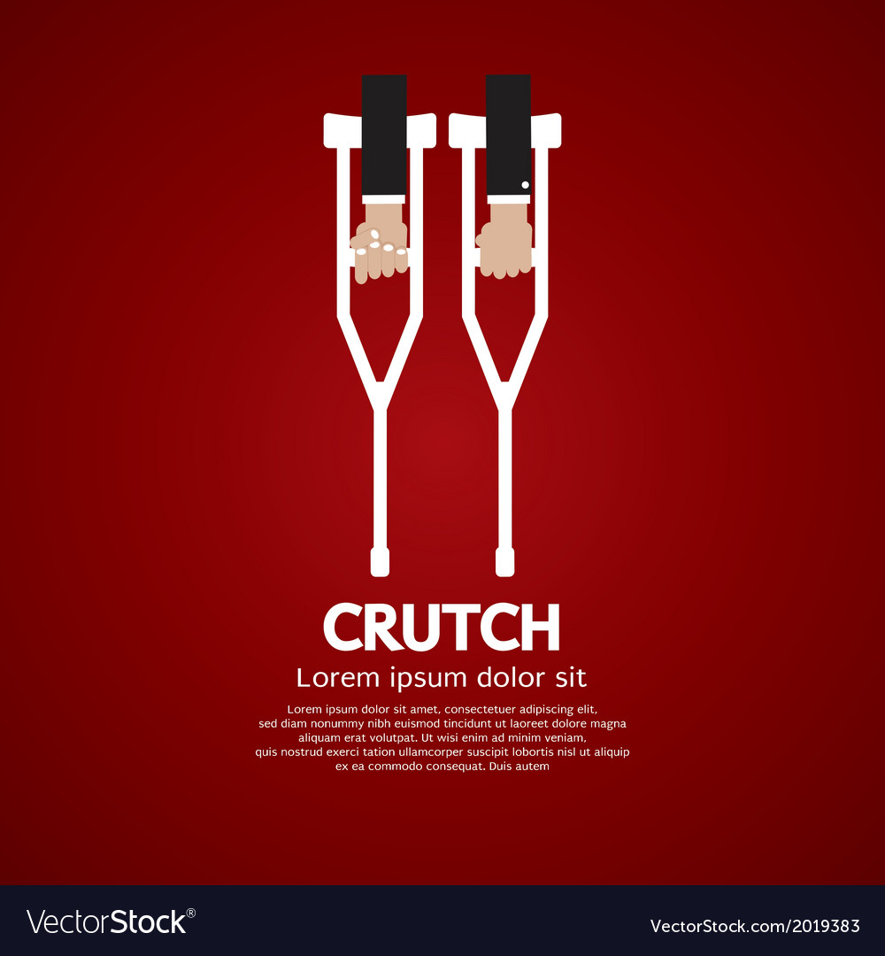Hand holding a pair of crutch vector