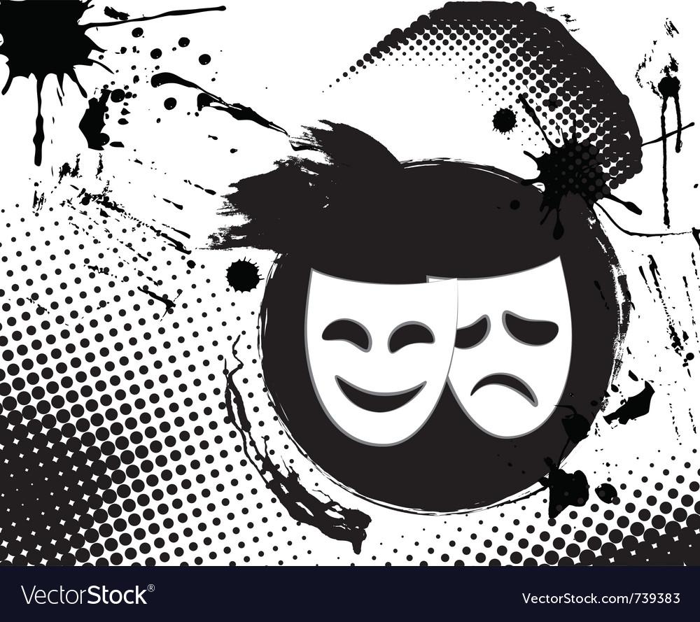 Vintage theater masks emblem vector