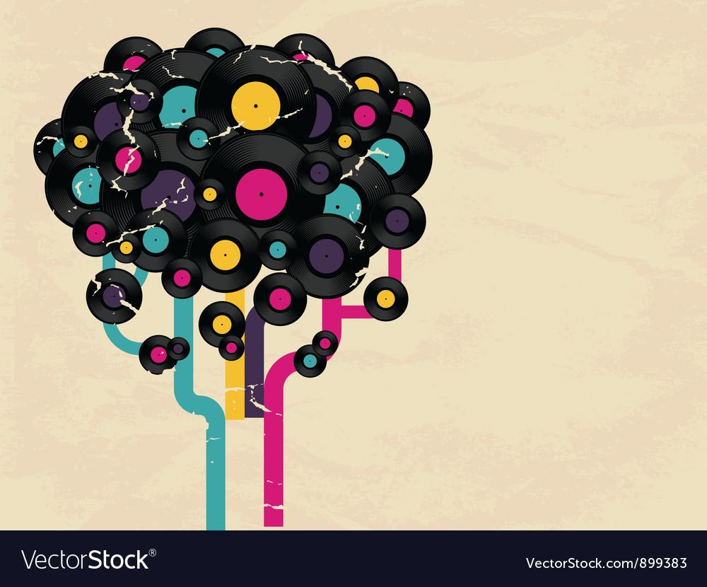 Vinyl record tree vector