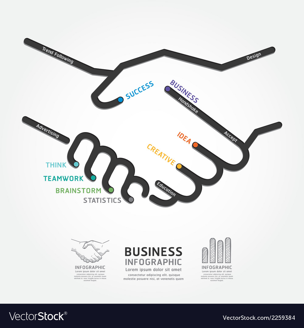 Business handshake diagram line style template vector