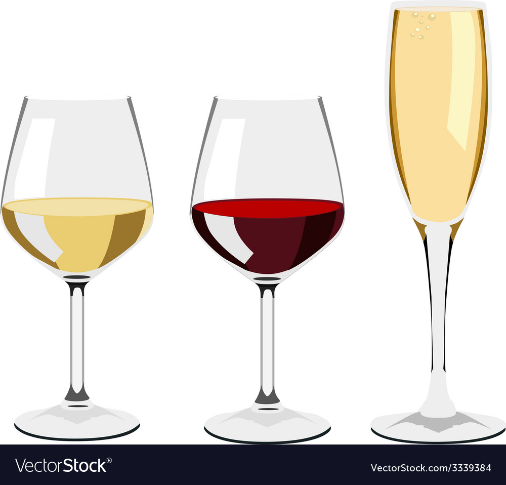 Glass of wine and champagne vector