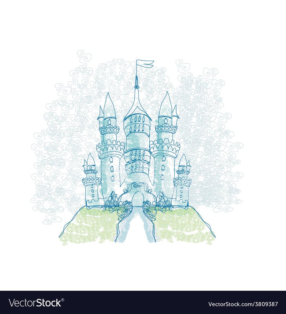 Doodle sketchy castle vector