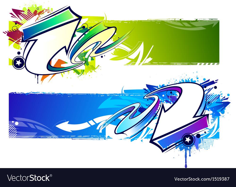 Graffiti bright banners vector