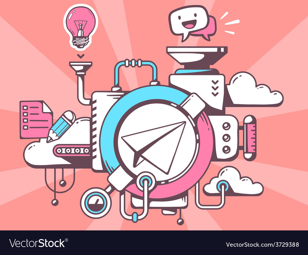 Mechanism with paper air plane and office vector