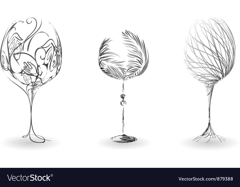 Stylized outline of wine glasses vector