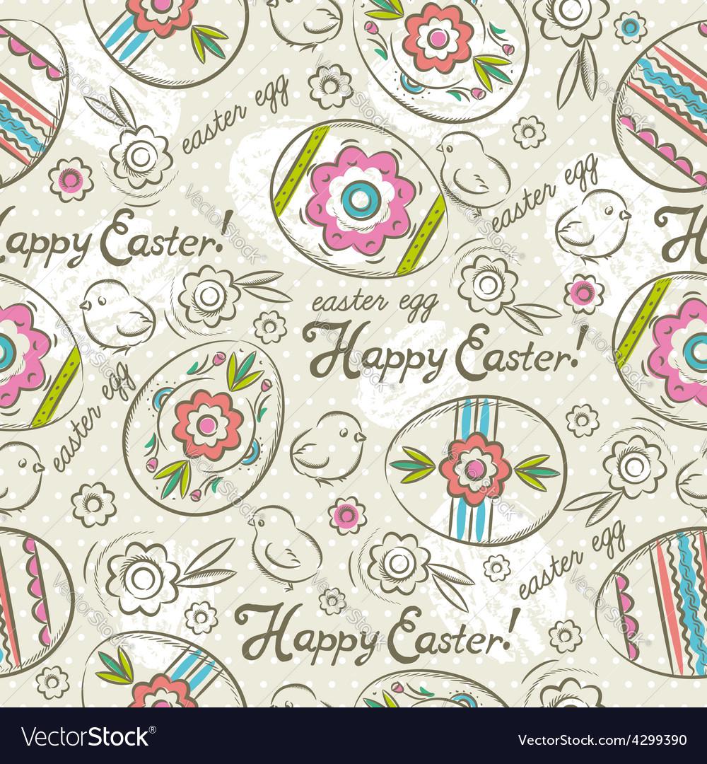 Easter patterns easter eggs chicks vector