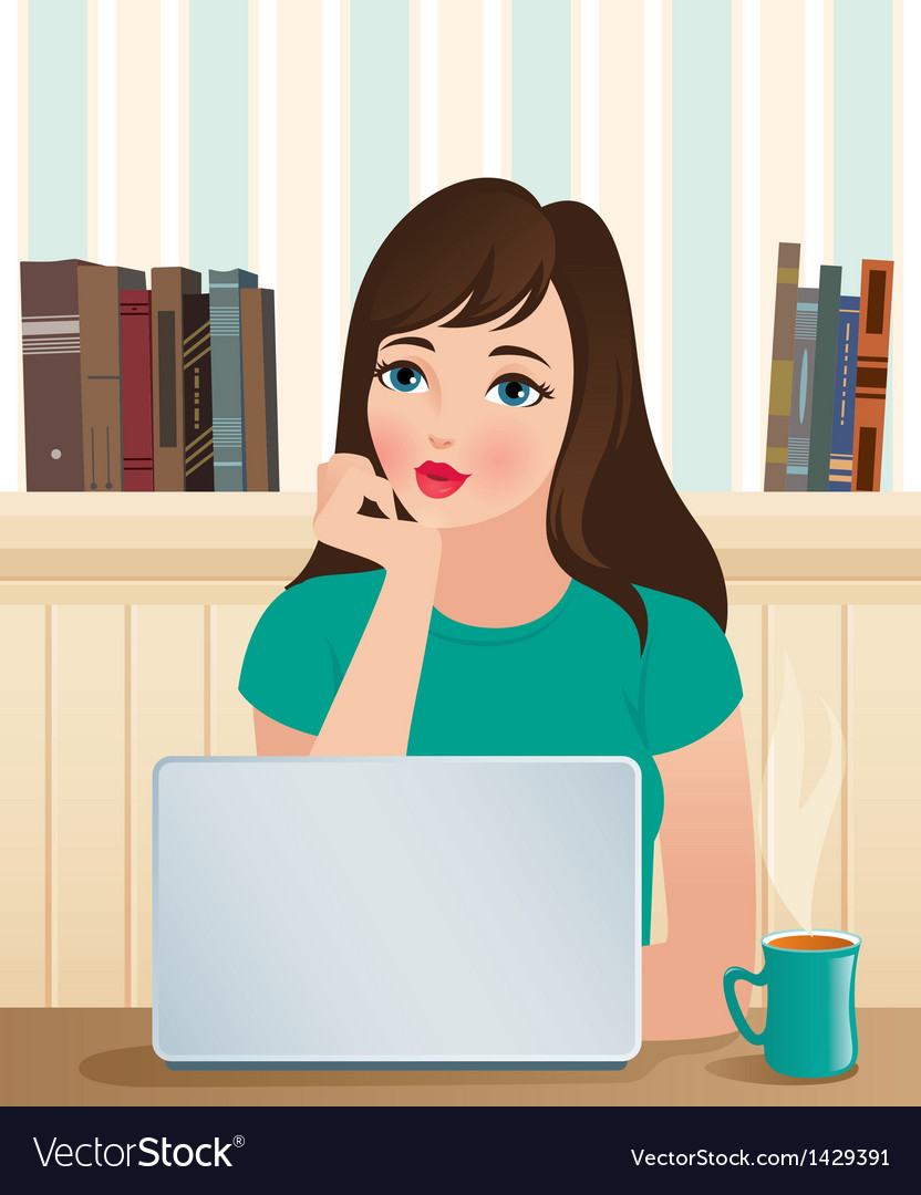 Girl and a laptop vector