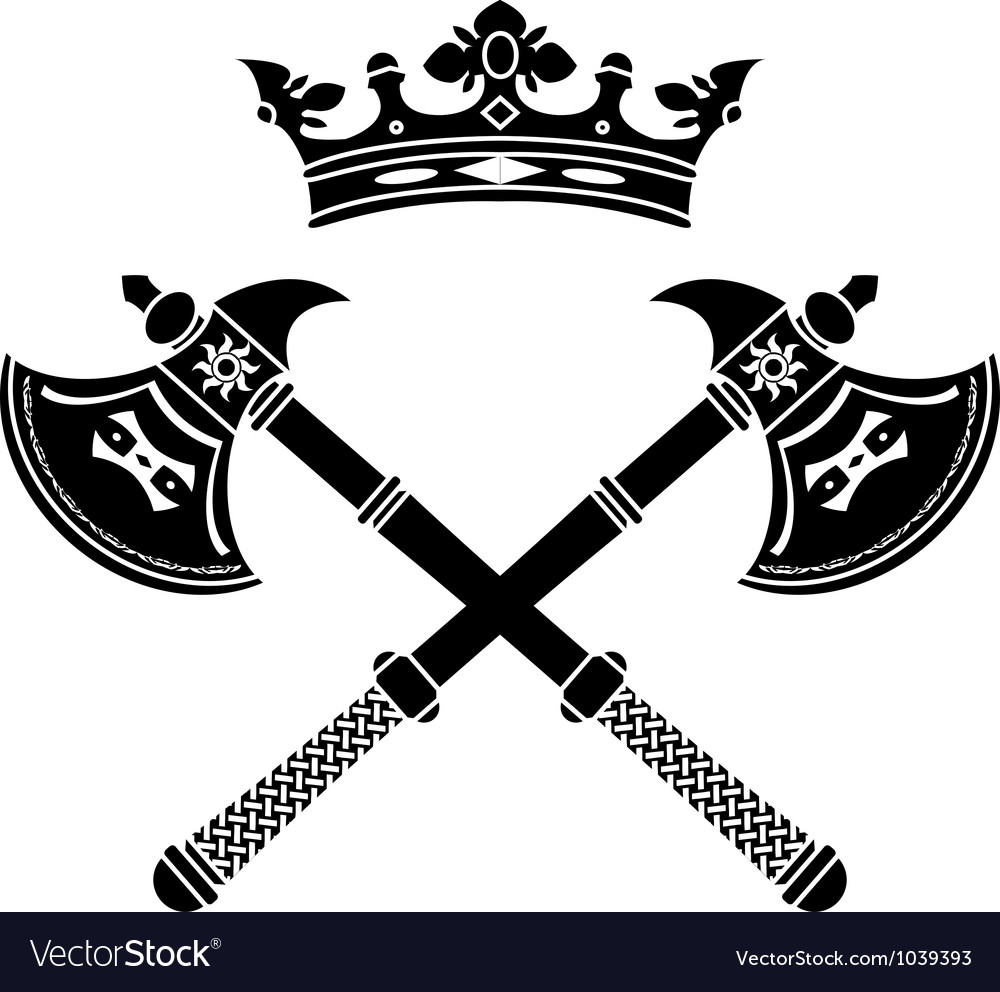 Fantasy axes and crown vector