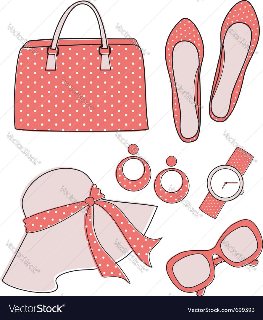 Fashion accessories set vector