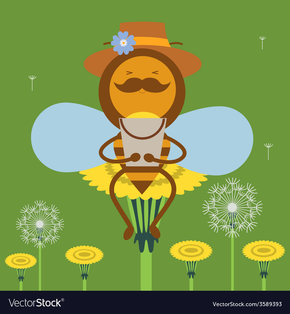 Honey bee and flowers vector