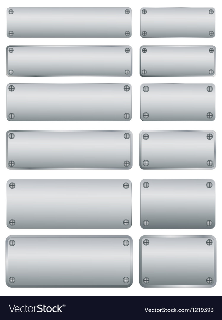 Steel plates with screws vector